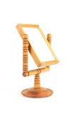 在白色背景隔绝的Wintage木镜子 免版税库存图片