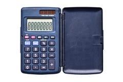 在白色背景顶视图的使用的孤立简单的计算器 免版税库存图片