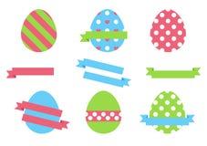 在白色背景鸡蛋隔绝的复活节彩蛋复活节假日设计 图库摄影