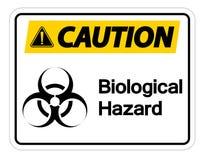 在白色背景,传染媒介例证的小心生物危险标志标志孤立 库存例证