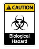 在白色背景,传染媒介例证的小心生物危险标志标志孤立 皇族释放例证