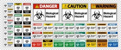 在白色背景,传染媒介例证的集合生物危险标志标志孤立 向量例证