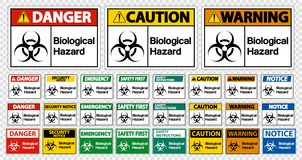 在白色背景,传染媒介例证的集合生物危险标志标志孤立 皇族释放例证