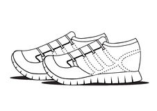 在白色背景,体育的黑概述鞋子反对 库存图片