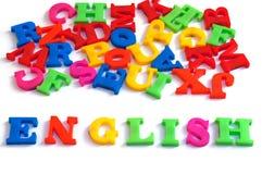 在白色背景,学会概念的英语的五颜六色的英国词 图库摄影