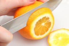 在白色背景,微粒的切的桔子 图库摄影