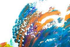在白色背景,手画刷子冲程的抽象水彩 库存照片
