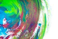 在白色背景,手画刷子冲程的抽象水彩 库存图片