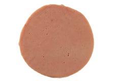 在白色背景,新鲜的熏火腿,猪肉火腿的切的火腿 免版税图库摄影