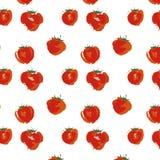 在白色背景,无缝的样式水彩传染媒介例证的草莓果子 免版税库存照片