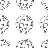 在白色背景,简单的无缝的样式的地球 向量例证