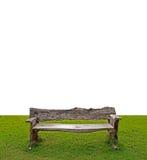 在白色背景,裁减路线的特写镜头古色古香的长木凳 免版税库存图片