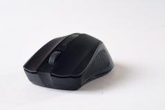 在白色背景,计算机小配件的黑老鼠, 库存图片