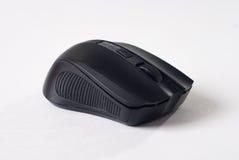 在白色背景,计算机小配件的黑老鼠, 免版税库存照片