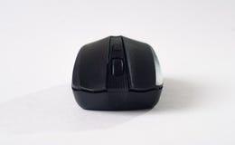 在白色背景,计算机小配件的黑老鼠, 免版税库存图片