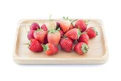 在白色背景,选择聚焦的新鲜的草莓 库存照片