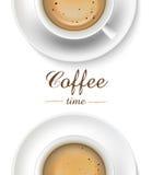 在白色背景,顶视图的咖啡杯 图库摄影