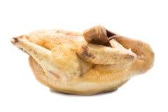 在白色背景,整体,侧视图的煮沸的鸡 图库摄影