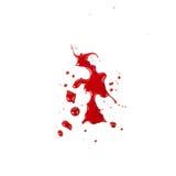 在白色背景(水坑)隔绝的血迹 库存照片