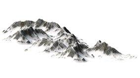 在白色背景-山峰-隔绝的斯诺伊山 库存照片