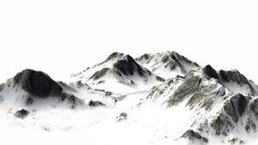 在白色背景-山峰-隔绝的斯诺伊山 免版税库存图片