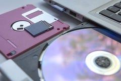 在白色背景-精选的焦点的数据存储设备 库存照片