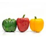 在白色背景(菜)的五颜六色的胡椒 免版税库存照片