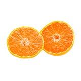 在白色背景+裁减路线隔绝的橙色果子 库存照片