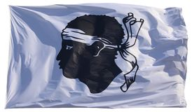 在白色背景-隔绝的科西嘉的旗子 库存图片