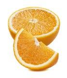 在白色背景2隔绝的橙色半四分之一片断 免版税库存图片