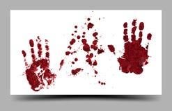 在白色背景16:9隔绝的血淋淋的手印刷品 免版税图库摄影
