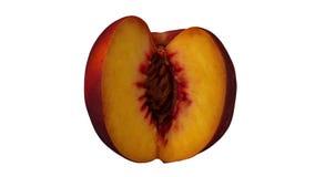 在白色背景02A使成环的转动的被切的桃子 向量例证