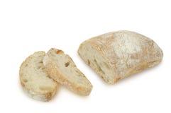 在白色背景(Ciabatta)隔绝的面包 库存照片