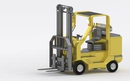 在白色背景3d的黄色叉架起货车射击回报 库存图片