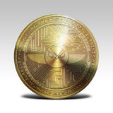 在白色背景3d翻译的金黄灵知硬币 免版税图库摄影