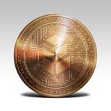 在白色背景3d翻译的铜bancor硬币 免版税库存图片