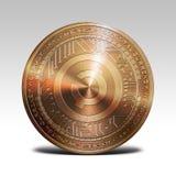 在白色背景3d翻译的铜creativecoin硬币 免版税图库摄影