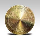 在白色背景3d翻译隔绝的金黄波纹硬币 免版税库存照片