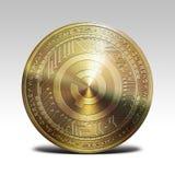 在白色背景3d翻译隔绝的金黄creativecoin硬币 库存照片