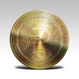 在白色背景3d翻译隔绝的金黄pivx硬币 免版税图库摄影