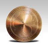在白色背景3d翻译隔绝的铜波纹硬币 免版税库存图片