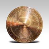 在白色背景3d翻译隔绝的铜pivx硬币 免版税库存图片