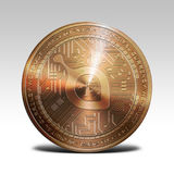 在白色背景3d翻译隔绝的铜siacoin硬币 免版税库存图片