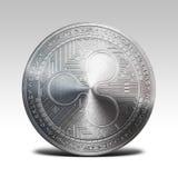 在白色背景3d翻译隔绝的银色波纹硬币 库存照片
