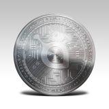 在白色背景3d翻译隔绝的银色siacoin硬币 免版税库存照片