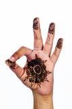 在白色背景ok标志大奖章设计的独特的无刺指甲花纹身花刺 库存照片
