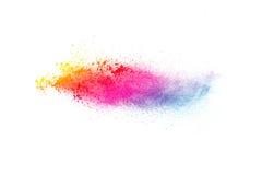 在白色背景splatted的色的粉末 库存照片