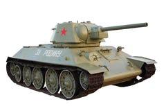 在白色背景T-34隔绝的苏联坦克 免版税库存图片