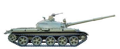 在白色背景T-62隔绝的绿色苏联坦克 库存照片