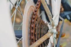 在白色自行车的老生锈的链子 库存照片
